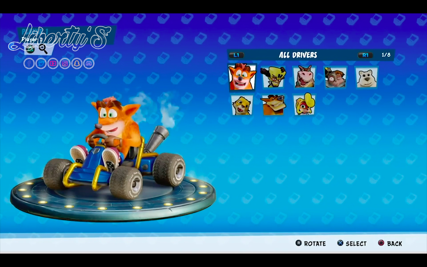 Menu Personnages CTR Nitro Fueled