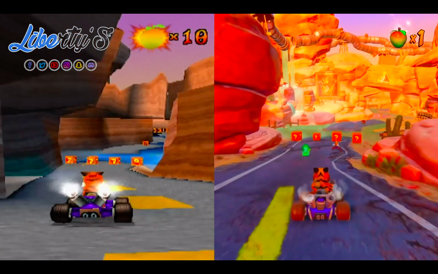 Comparatif CTR (PS One - 1999) et CTR Nitro Fueled (PS4 - 2019)
