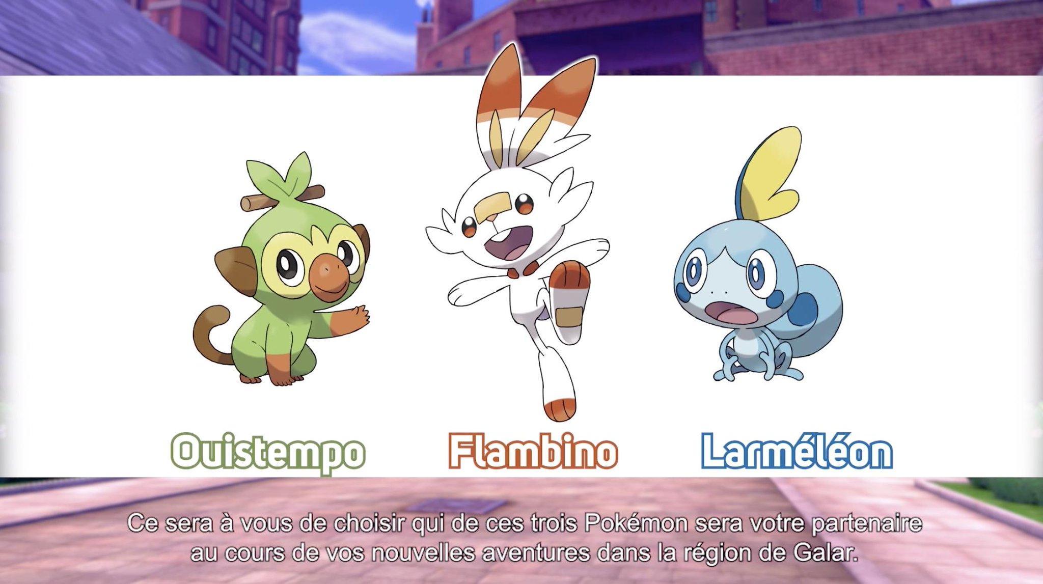 Starters Pokémon Épée et Pokémon Bouclier Ouistemp Flambino Larméléon